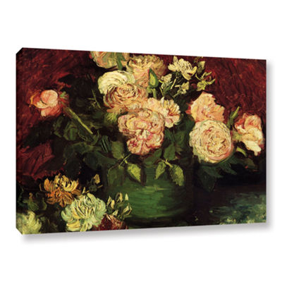 Brushstone Roses And Peonies Gallery Wrapped Canvas Wall Art