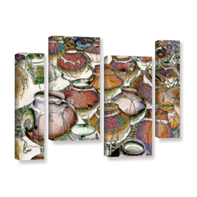 Brushstone Southwestern Pots 4-pc. Gallery WrappedStaggered Canvas Wall Art