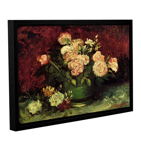 Brushstone Roses And Peonies Gallery Wrapped Floater-Framed Canvas Wall Art