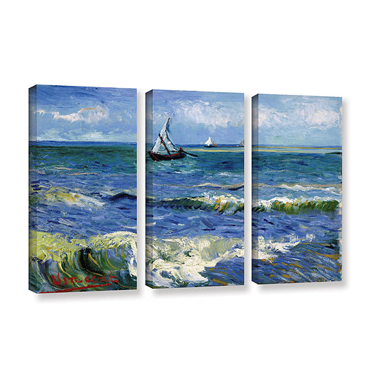 Brushstone Seascape At Saintes Maries 3-pc. Gallery Wrapped Canvas Wall Art