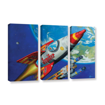 Brushstone Spacepatrol2 3-pc. Gallery Wrapped Canvas Wall Art