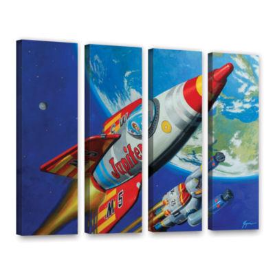 Brushstone Spacepatrol2 4-pc. Gallery Wrapped Canvas Wall Art