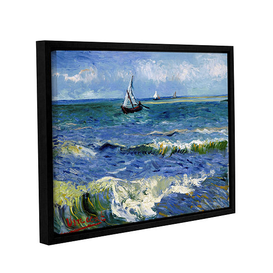 Brushstone Seascape At Saintes Maries Gallery Wrapped Floater-Framed Canvas Wall Art