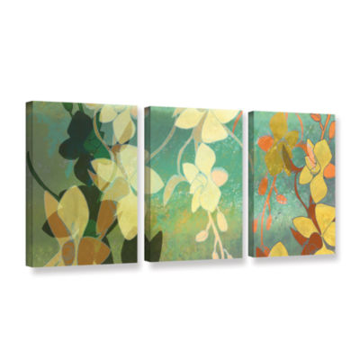 Brushstone Shadow Florals 3-pc. Gallery Wrapped Canvas Wall Art