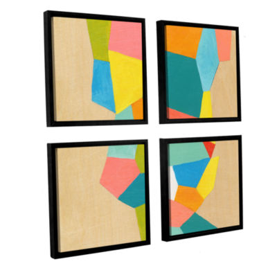 Brushstone Shapes At A Cellular Level 1 4-pc. Square Floater Framed Canvas Wall Art