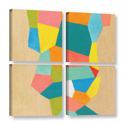 Brushstone Shapes At A Cellular Level 1 4-pc. Square Gallery Wrapped Canvas Wall Art