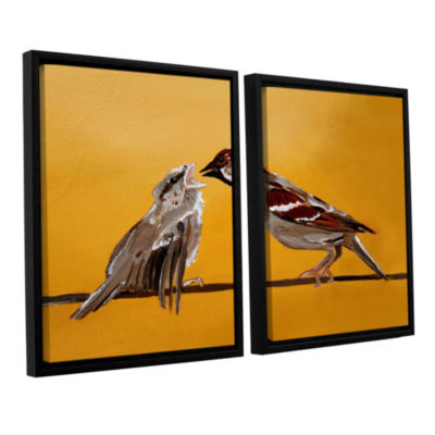 Brushstone Sparrows 2-pc. Floater Framed Canvas Wall Art