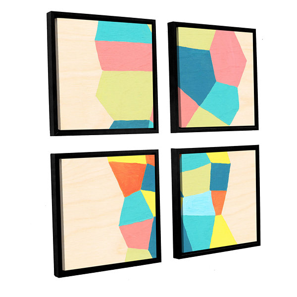 Brushstone Shapes At A Cellular Level 2 4-pc. Square Floater Framed Canvas Wall Art