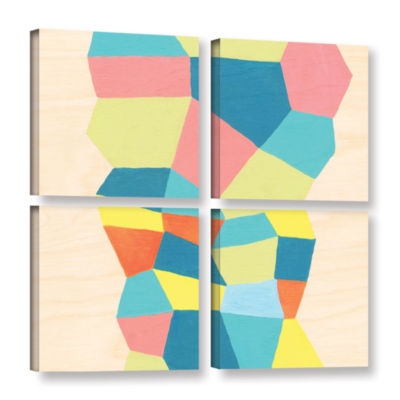 Brushstone Shapes At A Cellular Level 2 4-pc. Square Gallery Wrapped Canvas Wall Art