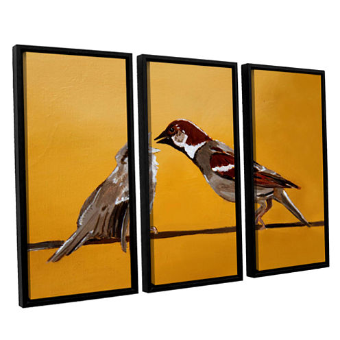 Brushstone Sparrows 3-pc. Floater Framed Canvas Wall Art