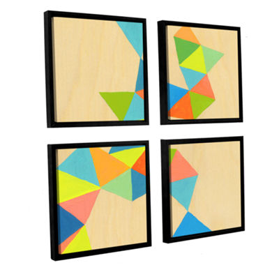 Brushstone Shapes At A Cellular Level 3 4-pc. Square Floater Framed Canvas Wall Art