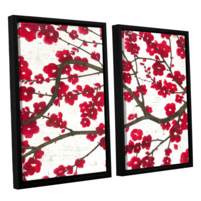 Brushstone Ruby Blossoms 2-pc. Floater Framed Canvas Wall Art