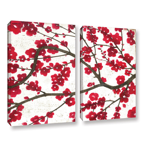 Brushstone Ruby Blossoms 2-pc. Gallery Wrapped Canvas Wall Art