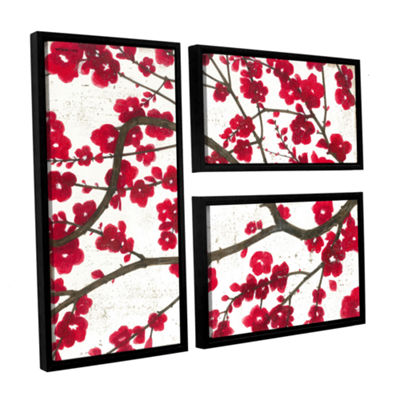 Brushstone Ruby Blossoms 3-pc. Flag Floater FramedCanvas Wall Art