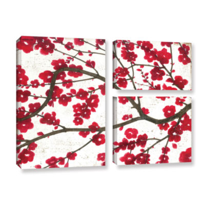 Brushstone Ruby Blossoms 3-pc. Flag Gallery Wrapped Canvas Wall Art