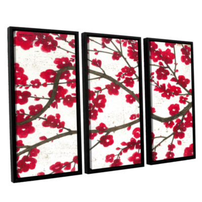 Brushstone Ruby Blossoms 3-pc. Floater Framed Canvas Wall Art