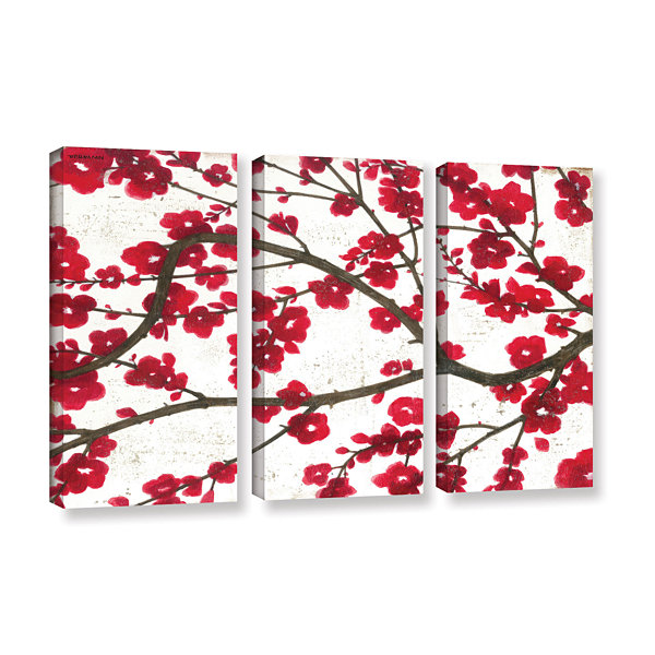Brushstone Ruby Blossoms 3-pc. Gallery Wrapped Canvas Wall Art