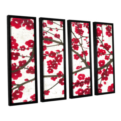 Brushstone Ruby Blossoms 4-pc. Floater Framed Canvas Wall Art