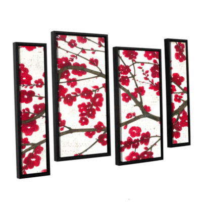 Brushstone Ruby Blossoms 4-pc. Floater Framed Staggered Canvas Wall Art