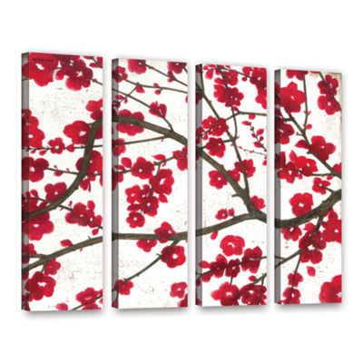 Brushstone Ruby Blossoms 4-pc. Gallery Wrapped Canvas Wall Art