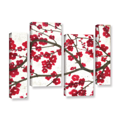 Brushstone Ruby Blossoms 4-pc. Gallery Wrapped Staggered Canvas Wall Art