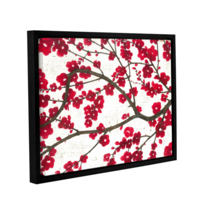 Brushstone Ruby Blossoms Gallery Wrapped Floater-Framed Canvas Wall Art
