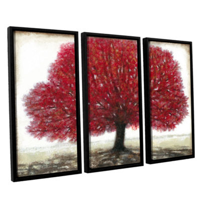 Brushstone Ruby Tree 3-pc. Floater Framed Canvas Wall Art