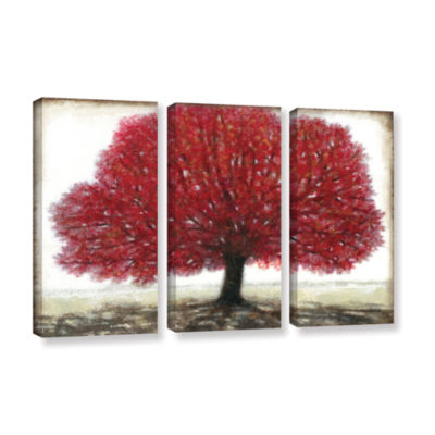 Brushstone Ruby Tree 3-pc. Gallery Wrapped CanvasWall Art