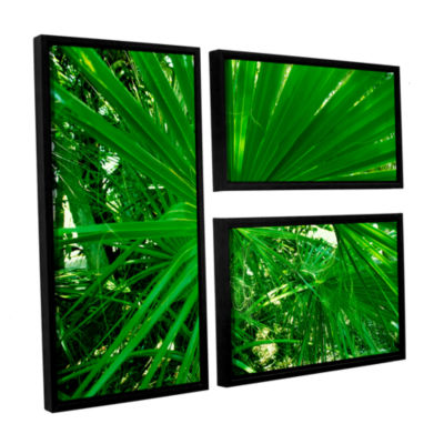 Brushstone Spiral Out Green 3-pc. Flag Floater Framed Canvas Wall Art