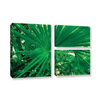 Brushstone Spiral Out Green 3-pc. Flag Gallery Wrapped Canvas Wall Art