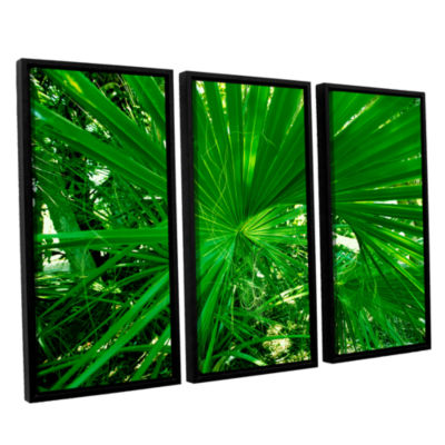 Brushstone Spiral Out Green 3-pc. Floater Framed Canvas Wall Art