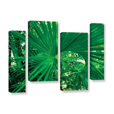 Brushstone Spiral Out Green 4-pc. Gallery WrappedStaggered Canvas Wall Art