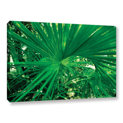 Brushstone Spiral Out Green Gallery Wrapped CanvasWall Art
