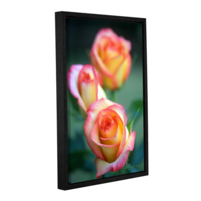 Brushstone Rose Trio Gallery Wrapped Floater-Framed Canvas Wall Art