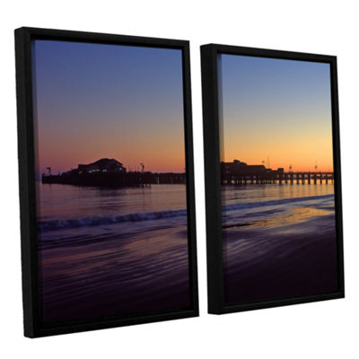 Brushstone Santa Barbara Pier At Sunset 2-pc. Floater Framed Canvas Wall Art