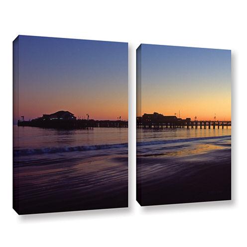 Brushstone Santa Barbara Pier At Sunset 2-pc. Gallery Wrapped Canvas Wall Art
