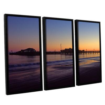 Brushstone Santa Barbara Pier At Sunset 3-pc. Floater Framed Canvas Wall Art