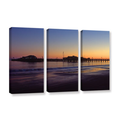 Brushstone Santa Barbara Pier At Sunset 3-pc. Gallery Wrapped Canvas Wall Art