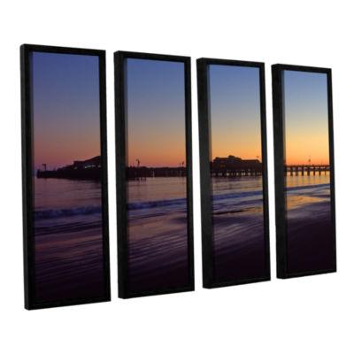 Brushstone Santa Barbara Pier At Sunset 4-pc. Floater Framed Canvas Wall Art