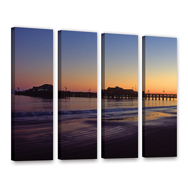 Brushstone Santa Barbara Pier At Sunset 4-pc. Gallery Wrapped Canvas Wall Art