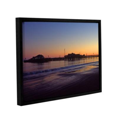 Brushstone Santa Barbara Pier At Sunset Gallery Wrapped Floater-Framed Canvas Wall Art