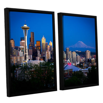 Brushstone Seattle And Mt. Rainier 2-pc. Floater Framed Canvas Wall Art