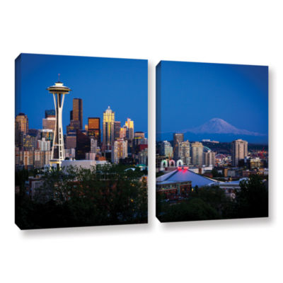 Brushstone Seattle And Mt. Rainier 2-pc. Gallery Wrapped Canvas Wall Art