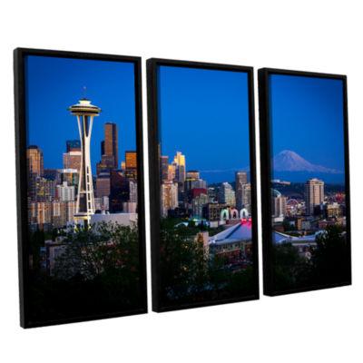 Brushstone Seattle And Mt. Rainier 3-pc. Floater Framed Canvas Wall Art