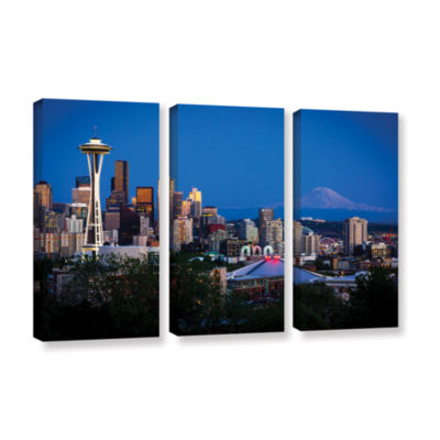Brushstone Seattle And Mt. Rainier 3-pc. Gallery Wrapped Canvas Wall Art