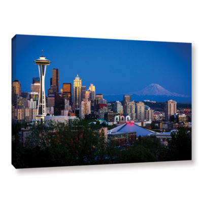 Brushstone Seattle And Mt. Rainier Gallery WrappedCanvas Wall Art