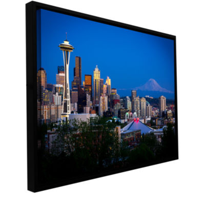 Brushstone Seattle And Mt. Rainier Gallery WrappedFloater-Framed Canvas Wall Art