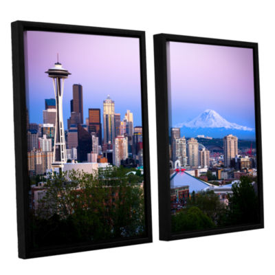 Brushstone Seattle And Mt. Rainier 2 2-pc. FloaterFramed Canvas Wall Art