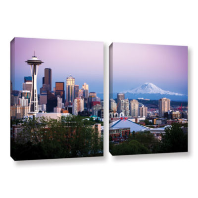 Brushstone Seattle And Mt. Rainier 2 2-pc. GalleryWrapped Canvas Wall Art