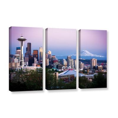 Brushstone Seattle And Mt. Rainier 2 3-pc. GalleryWrapped Canvas Wall Art